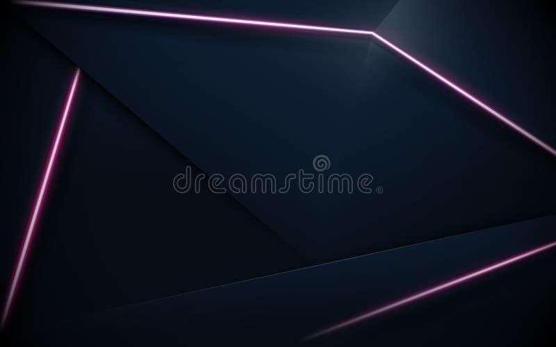 抽象多角形样式豪华和紫色霓虹背景 库存例证