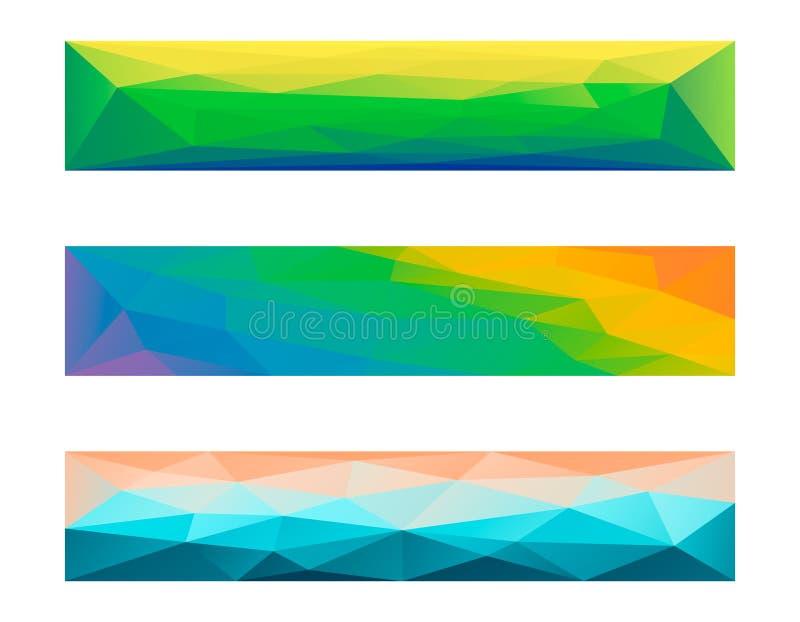 抽象多角形横幅集合 向量Illustratio 向量例证