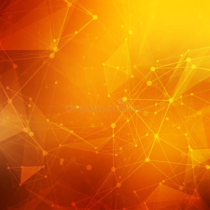 抽象多角形橙红低多背景 库存例证