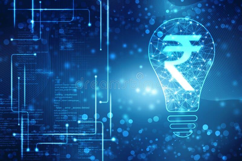 抽象多角形灯和印度卢比标志企业接口,创新背景,创造性的想法概念 库存例证