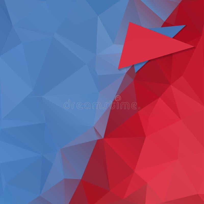 抽象多角形蓝色红色背景 库存例证