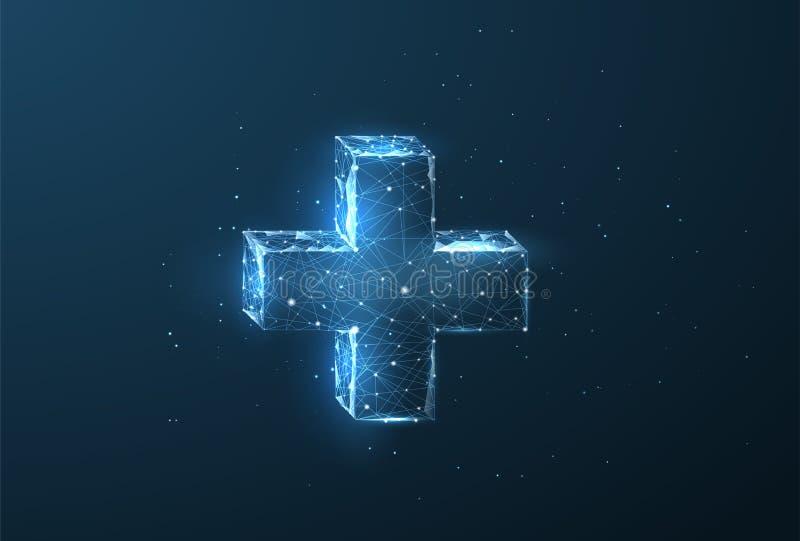 抽象多角形wireframe传染媒介摘要技术医疗保健创新概念 库存例证