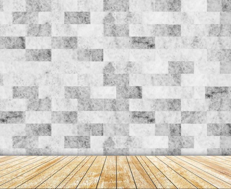 抽象大理石墙壁和木头平板仿造了(自然样式)纹理背景 库存例证