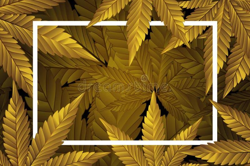抽象大麻叶子金子,大麻叶子仿造背景传染媒介例证 向量例证