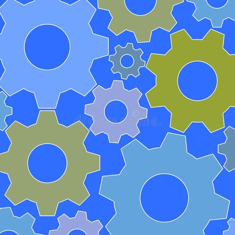 抽象大齿轮样式橄榄色的青绿的灰色 向量例证
