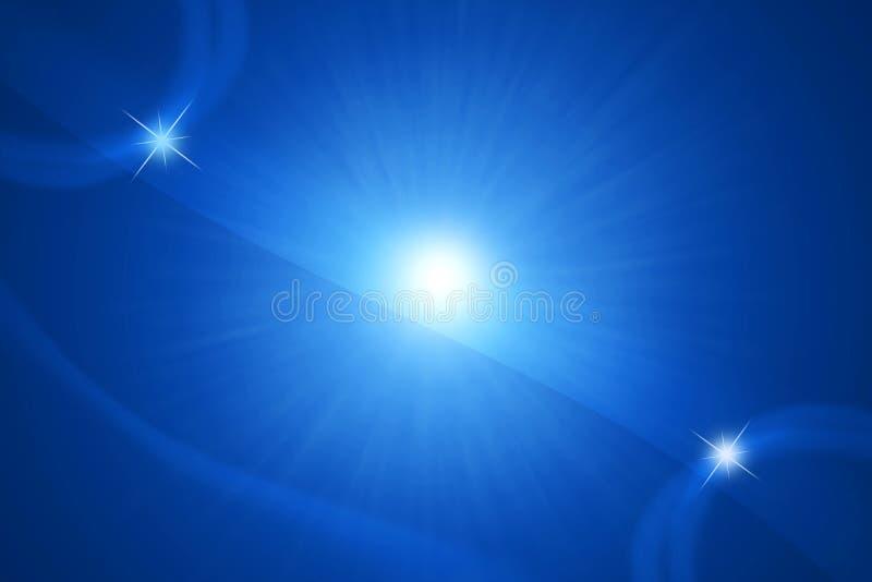 抽象太阳和星在蓝色背景中 向量例证