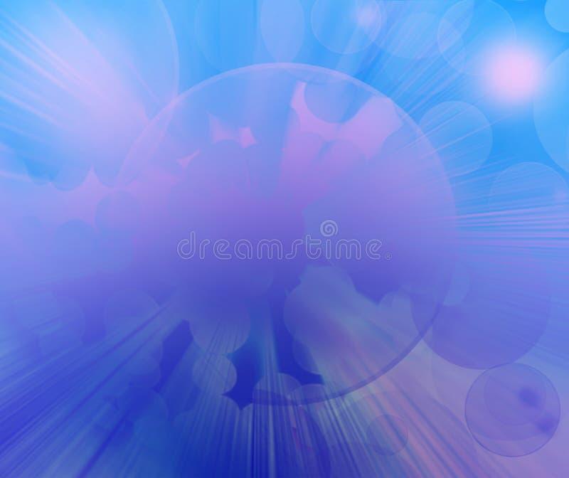 抽象太阳,蓝色和桃红色圆bokeh背景 皇族释放例证