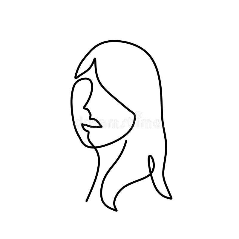 抽象女孩妇女面对连续的一线描简单派艺术设计 向量例证