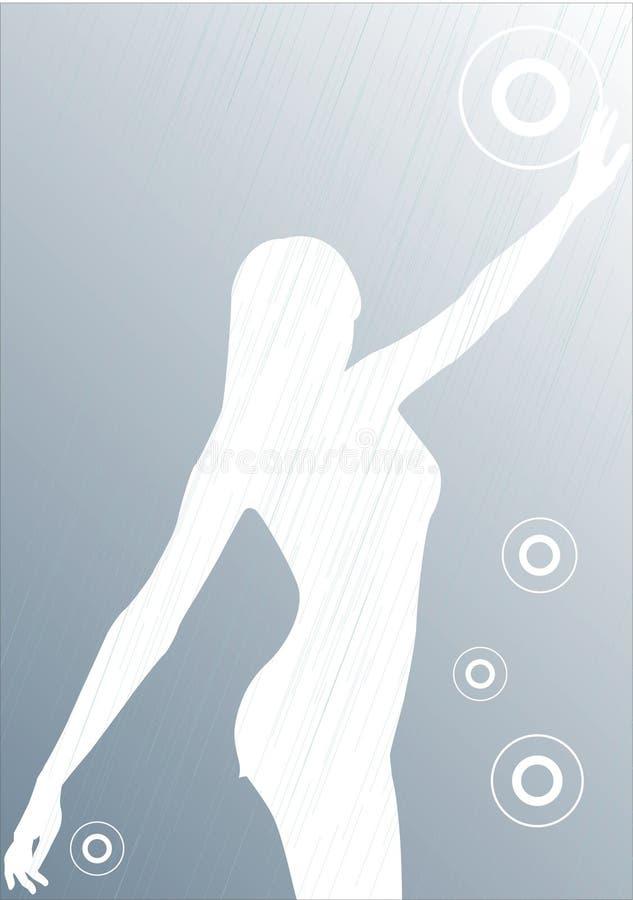 抽象女孩雨剪影 库存例证