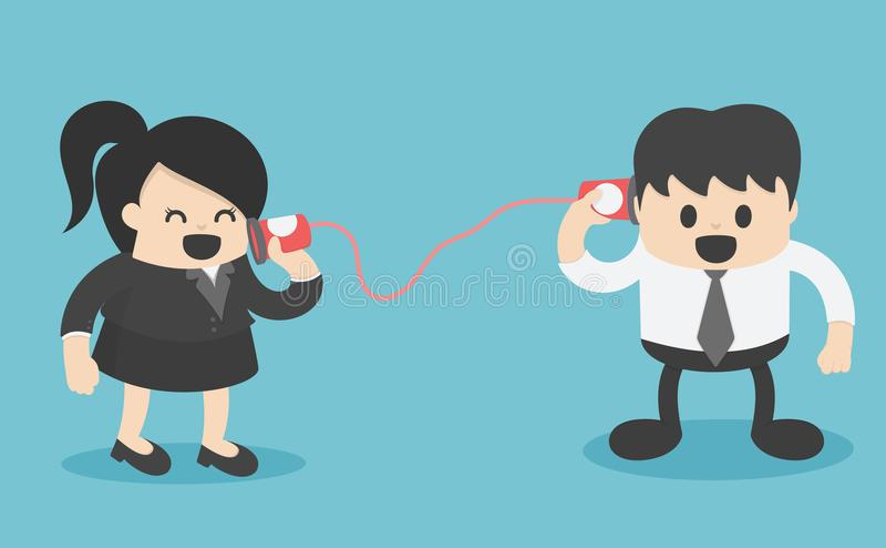 抽象女实业家和商人沟通 向量例证