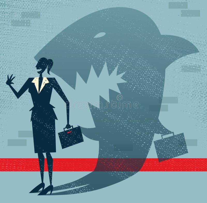 抽象女实业家是在乔装的一个鲨鱼。 皇族释放例证