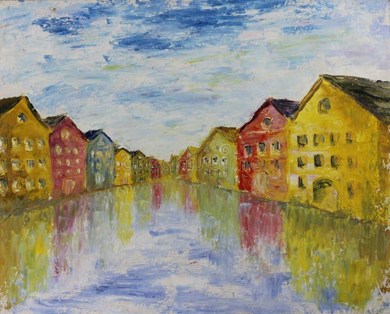 抽象威尼斯,油画 向量例证
