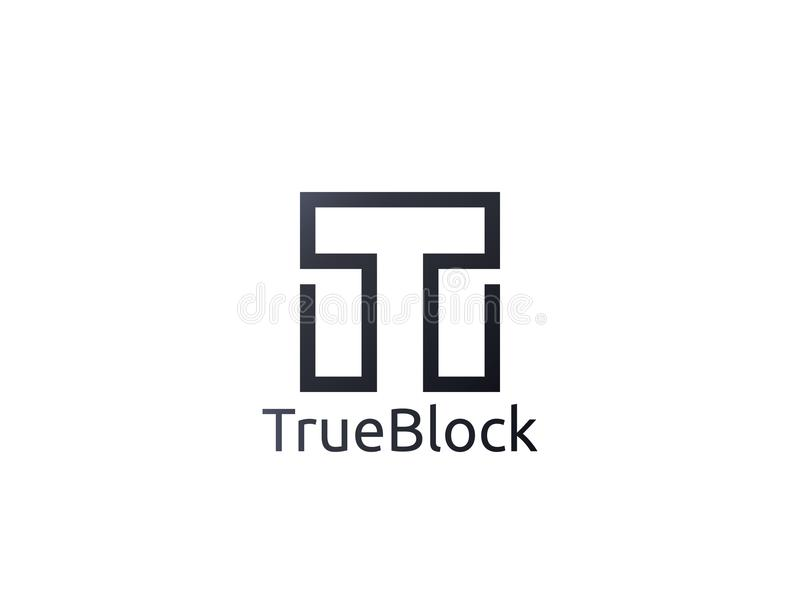 抽象字母表信件T商标象 地垫墙壁块标志 库存例证