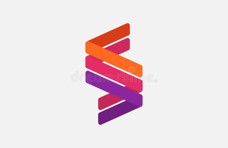 抽象字母S商标设计模板 线创造性的标志 普遍传染媒介象 皇族释放例证