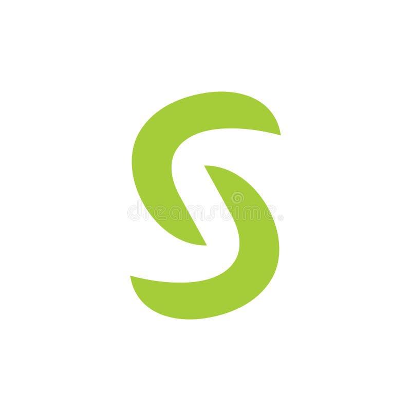 抽象字母S简单的连接的曲线箭头商标传染媒介 库存例证
