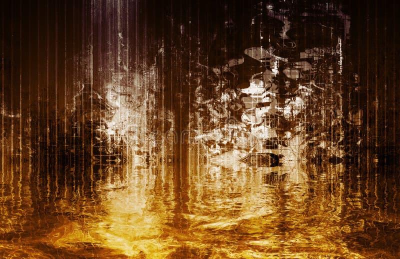 抽象安慰性的超现实的视图瀑布 向量例证