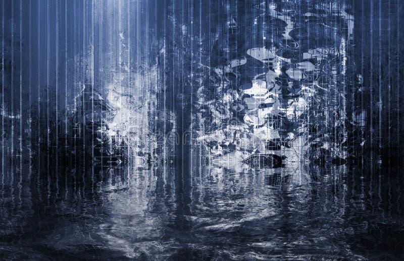 抽象安慰性的超现实的视图瀑布 库存例证