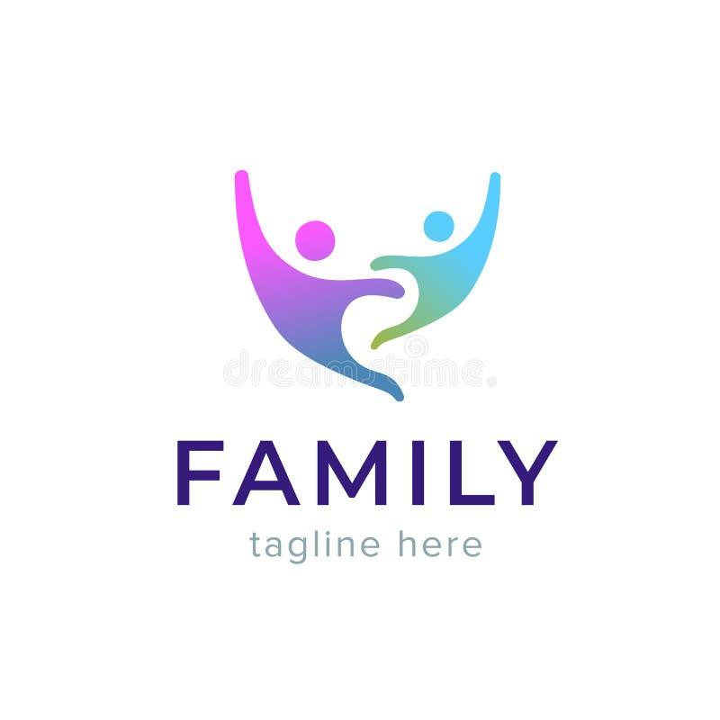 抽象家庭象 同时标志 模板商标设计 公共、爱和支持概念 人连接 皇族释放例证
