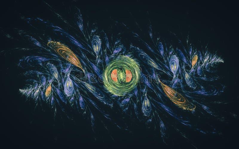 抽象对称例证上色了绘画的技巧以羽毛的形式绿色,红色,蓝色在引起的黑背景  库存例证