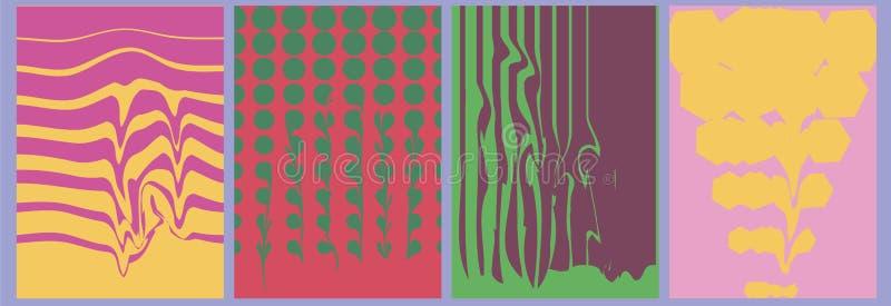 抽象小故障背景,半音模板,艺术性的盖子设计,五颜六色的纹理 向量例证