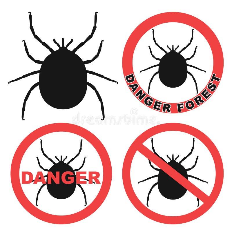 抽象小蜘蛛警报信号 滴答声 图标 向量例证