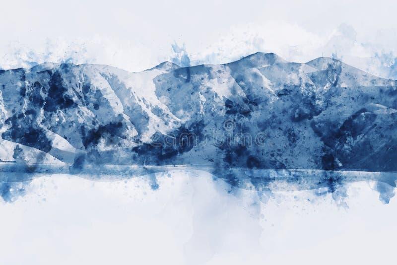 抽象山在白色背景,数字水彩绘画环境美化 库存图片