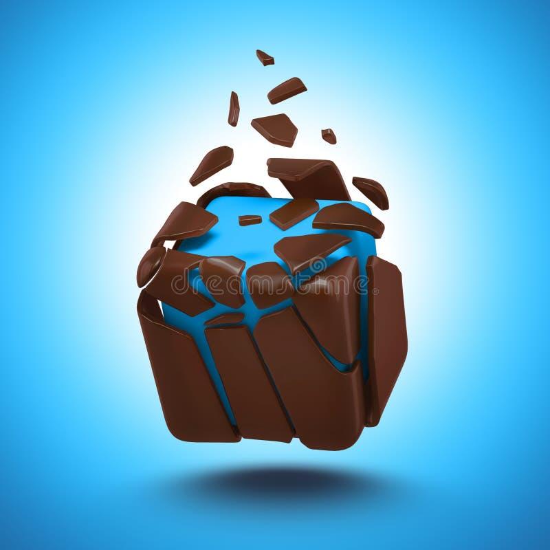 抽象巧克力糖多维数据集对象 皇族释放例证