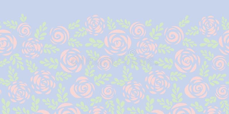 抽象平的玫瑰和叶子微妙的桃红色和蓝色无缝的传染媒介边界 花卉剪影 华伦泰的花纹花样, 向量例证