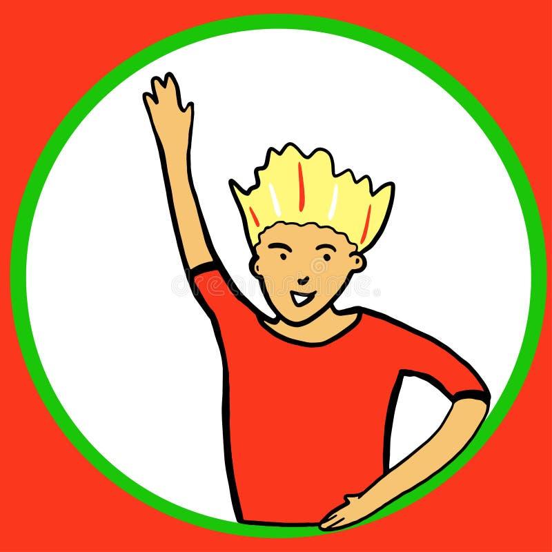 抽象平的男孩挥动的手在一个圆的窗口里 ?? 微笑的具体化 红色T恤杉的英俊的白肤金发的男孩 向量例证