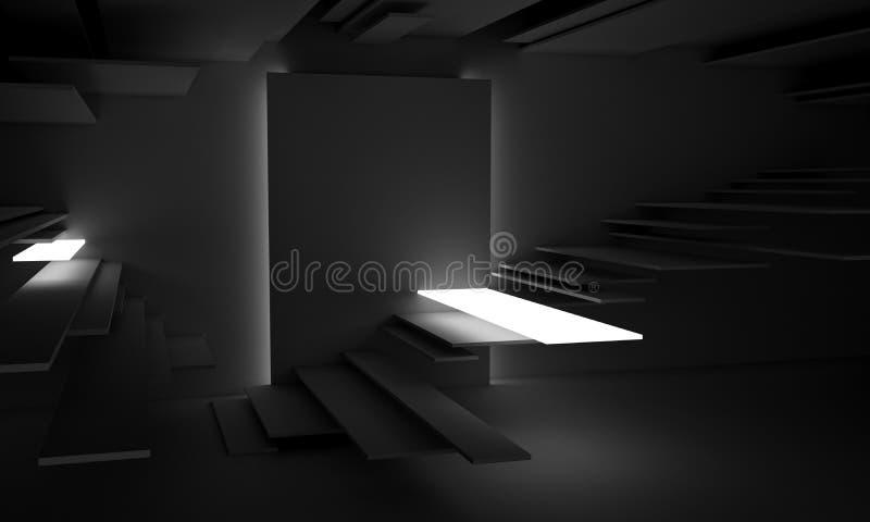 抽象建筑学现代设计背景 3d例证回报 向量例证
