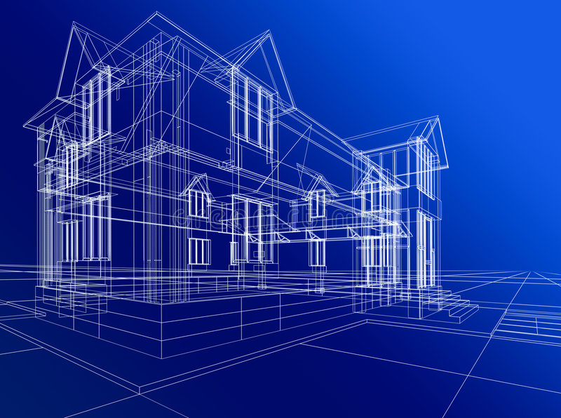 抽象建筑房子 皇族释放例证