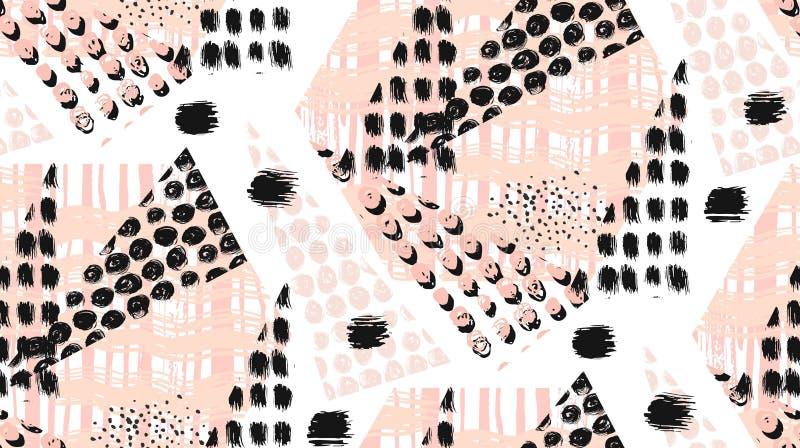 抽象异常的手工制造几何无缝的样式或背景与闪烁,提高纹理,被绘的刷子 皇族释放例证
