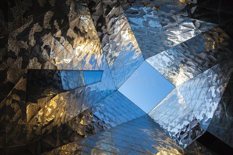 抽象当代建筑学细节在欧洲 库存照片