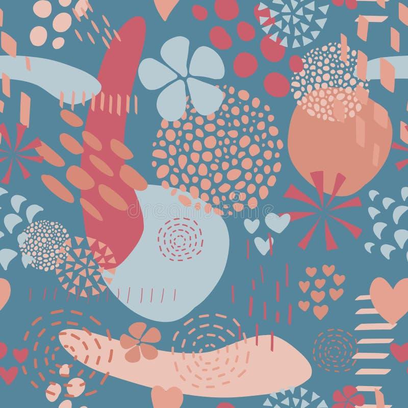 抽象形状导航背景珊瑚桃红色蓝色 库存例证