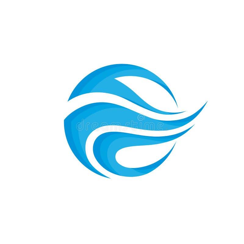 抽象形状-导航商标模板标志创造性的例证 蓝色挥动水概念标志 设计要素例证图象向量