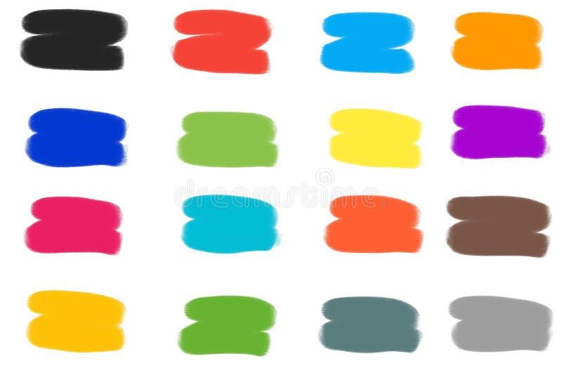 抽象彩色画笔描边集 向量例证