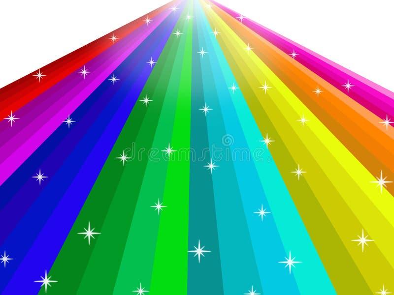抽象彩虹有星背景 库存例证
