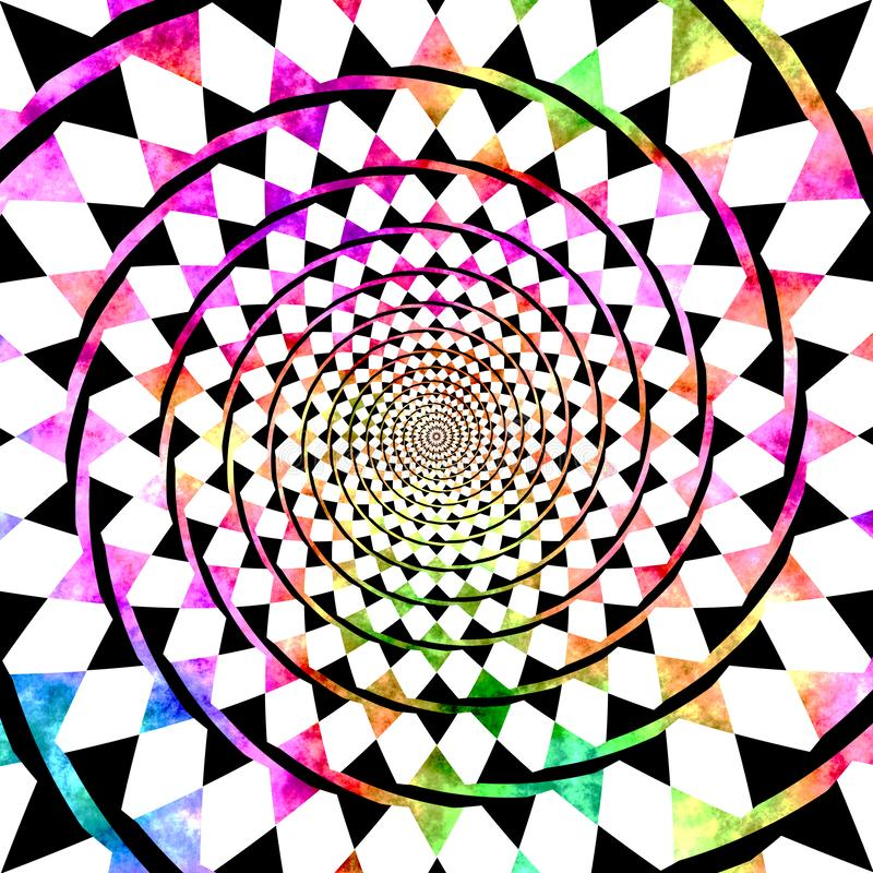 抽象彩虹漩涡方格的背景 向量例证