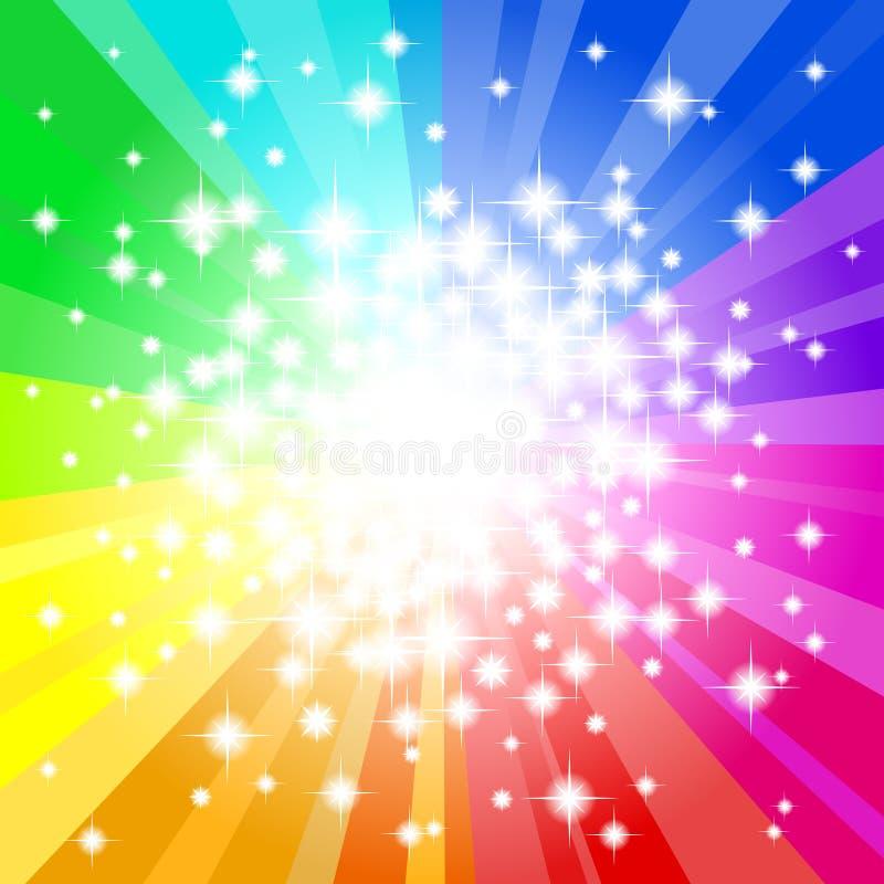 抽象彩虹色的星背景 库存例证
