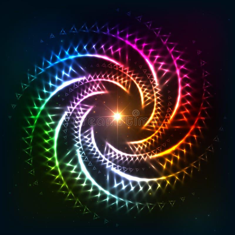 抽象彩虹neoncosmic螺旋背景 向量例证