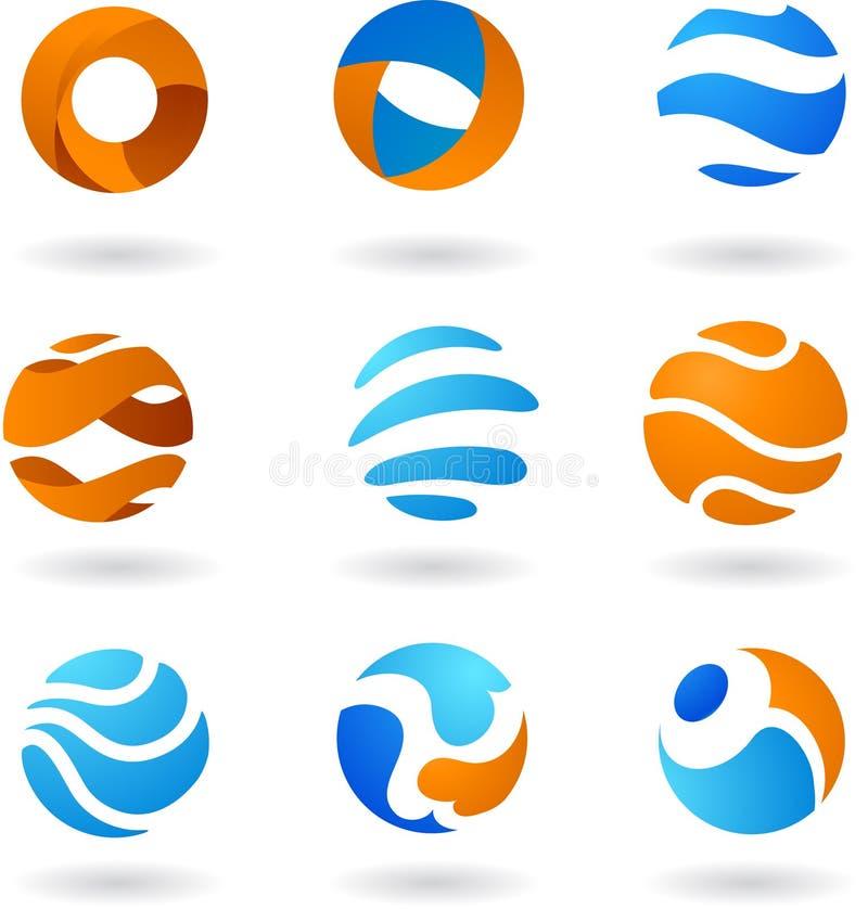 抽象徽标的收集 库存例证