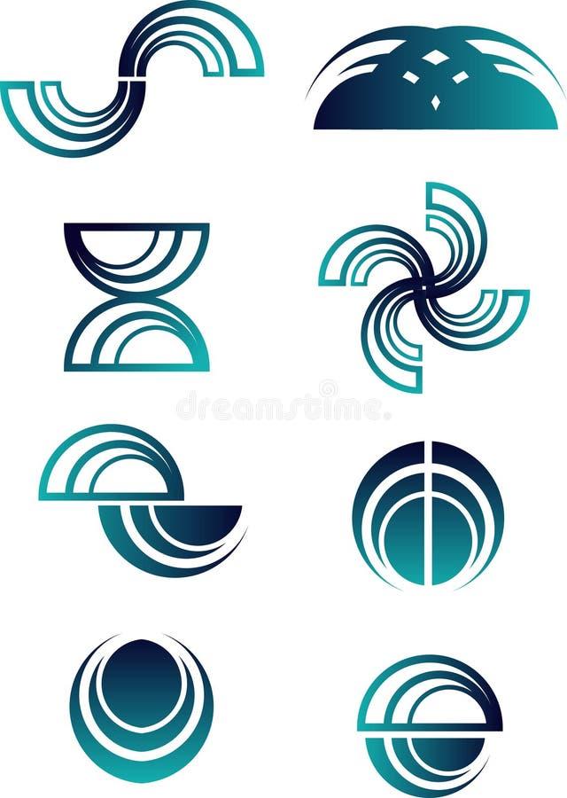 抽象徽标集 向量例证