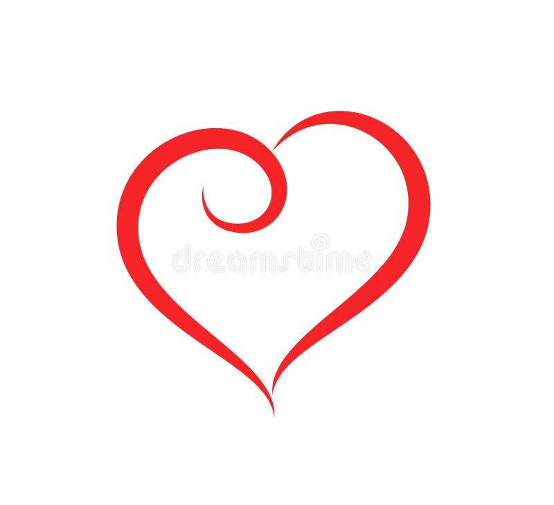 抽象心形概述关心传染媒介例证 在平的样式的红色心脏象 库存例证