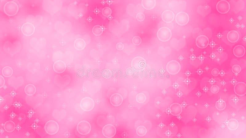 抽象心脏、闪闪发光和泡影在桃红色背景中 库存例证