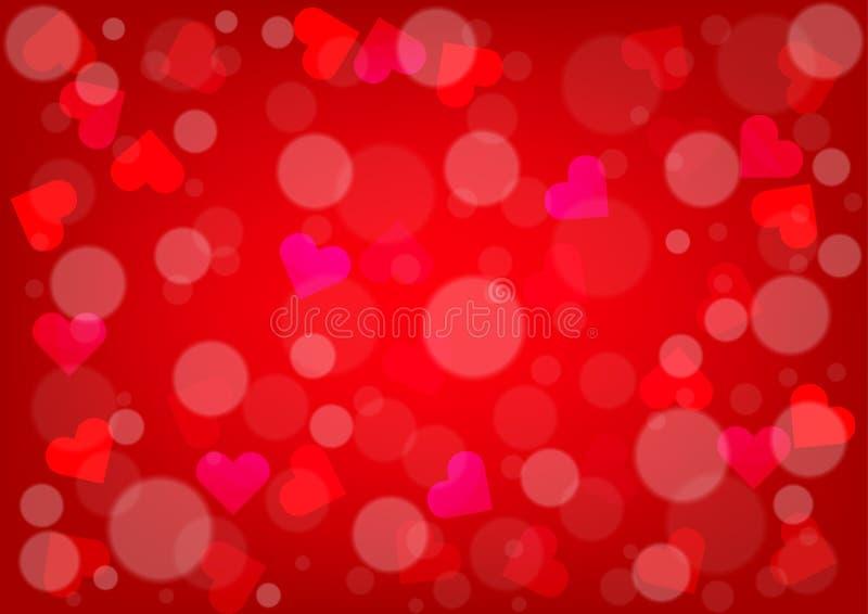 抽象心脏和bokeh情人节红颜色的Backgroun 库存例证