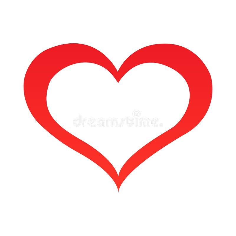 抽象心脏形状概述 也corel凹道例证向量 在平的样式的红色心脏象 心脏作为爱的标志 向量例证