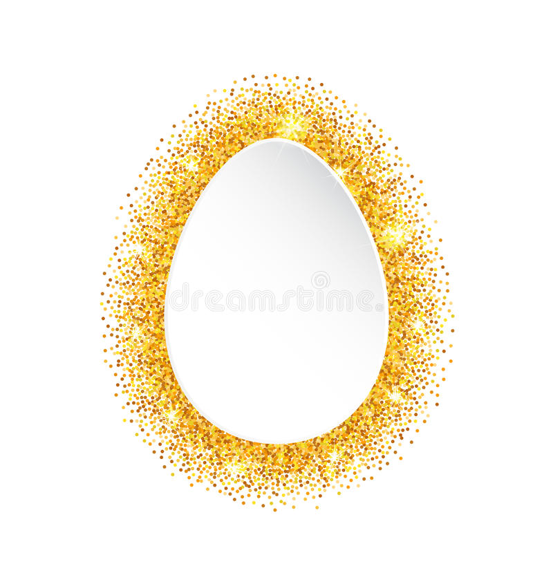 抽象愉快的复活节金黄闪烁鸡蛋 库存例证