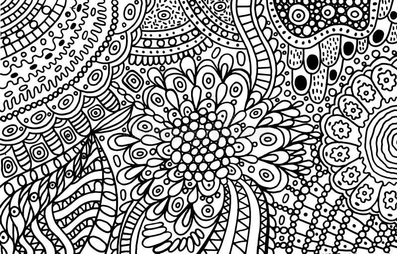 抽象成人的装饰品乱画上色页 与花卉元素的外形图 也corel凹道例证向量 库存例证