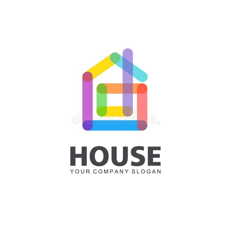 抽象房子传染媒介商标模板 五颜六色的符号 家庭设计 边界月桂树离开橡木丝带模板向量 皇族释放例证