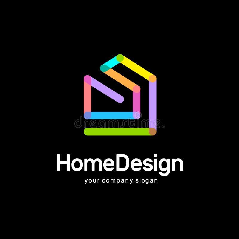 抽象房子传染媒介商标模板 五颜六色的符号 家庭设计 库存例证